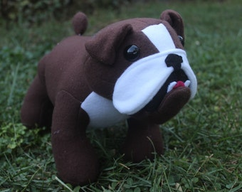 Brown and white stuffed English bulldog/plushie