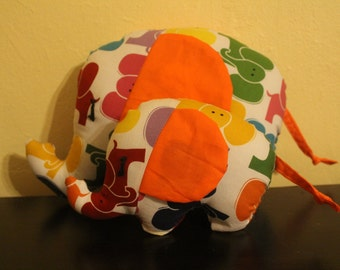 Multicolored elephant print stuffed elephant/nursery decor