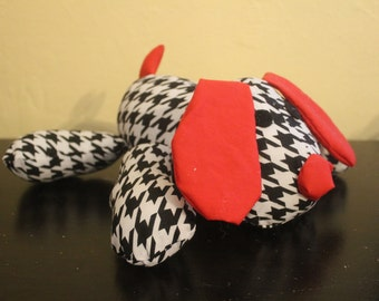 Black and white houndstooth stuffed puppy/nursery decor