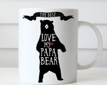 Papa Bear Mug, Papa Bear Coffee Mug, Ceramic Mug 11 oz Mug, Fathers Day Gift, Gift for Dad, Dad Mug, Gift for Father, Grizzly Bear Art