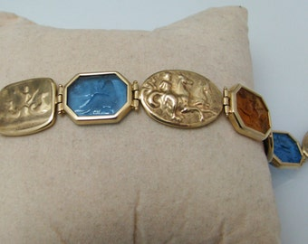 a558 Beautiful 14k Yellow Gold Repousse Bracelet with Blue & Yellow Topaz