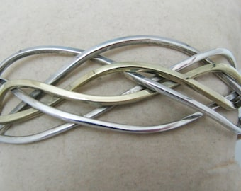 Vintage Sterling Silver Woven Wire Bracelet with Gold Wash