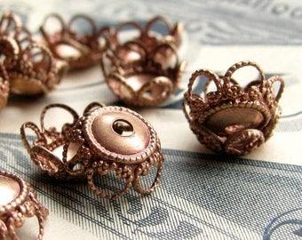 10mm bead cap, filigree beadcap flower, scalloped petals (6 bead caps) golden rose antiqued brass bead caps, rose gold bead caps