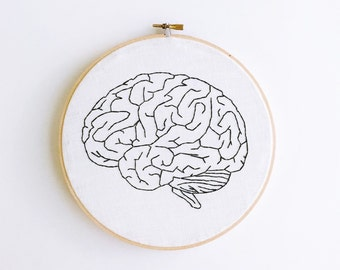 Lobe You Anatomical Brain Modern Hand Embroidery in an 8 inch hoop • Gift for him • Gift for her • Embroidered Fiber Hoop Art