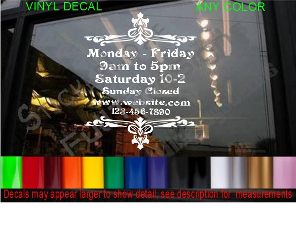STORE HOURS CuStOm Window Decal Business Shop Storefront Vinyl - Large custom window decals for business