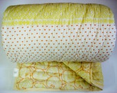 100% Handmade Cotton Quilt - Yellow and Orange Designs