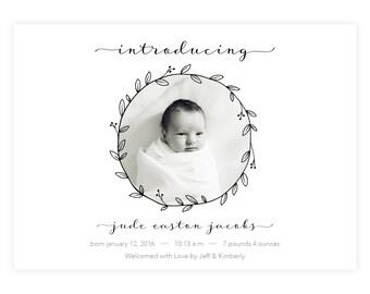 Black and White Birth Announcement
