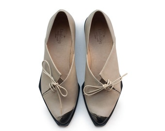 Sale 35% off! Women shoes, Gray shoes, oxford shoes, Tie shoes, leather handmade shoes by Liebling on etsy. Free shipping. Teddy model.