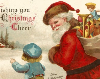 Vintage Ellen Clapsaddle Santa and boy postcard digital download printable image