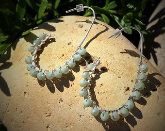 Wire-wrapped sterling silver and seafoam crystals