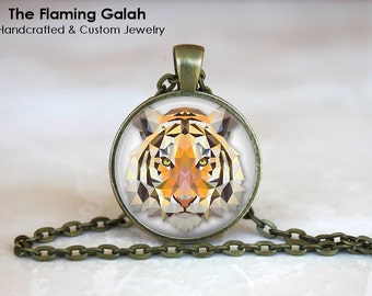 TIGER FACE Pendant •  Geometric Tiger • Tiger Head • Gift Under 20 • Made in Australia (P0187)
