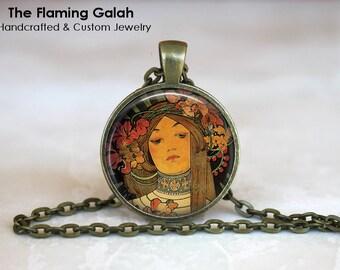 ALPHONSE MUCHA Pendant •  Art Nouveau •  Alphonse Mucha Art •  Mucha Jewellery •  Gift for Her •  Made in Australia •  (P0022)