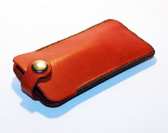 Leather key holder, handmade orange leather case with silver key ring, great gift for men, great gift for women.