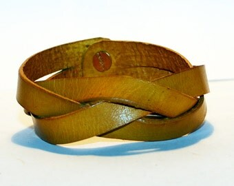 Yellow Leather Cuff!Yellow Leather Bracelet! Great Gift! Red Cuff! Very Nice Bracelet!