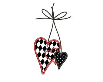 Three Hearts Machine Embroidery Applique Design Digitized Pattern - Instant Download