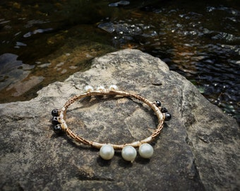 Recycled Guitar String Braclet - Pearl