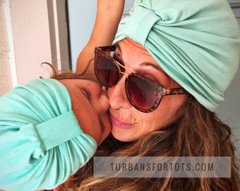 Mommy & Me turban hat set - Teal Turban hat w tab