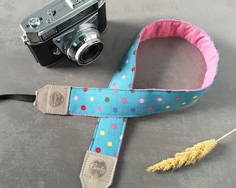 Polka Dot DSLR camera strap,Blue Mixed Polkadots Camera Strap, leather camera Strap ,