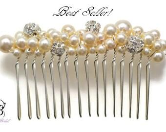 Bridal Hair Comb, Wedding Hair Accessories, Bridal Hair Accessories, Pearl Rhinestone Hair Comb,  Pearl Hair Comb, Wedding Acccessories