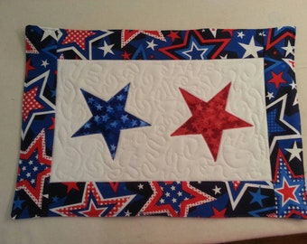 Set of 2 Fourth of July Quilted Placemats