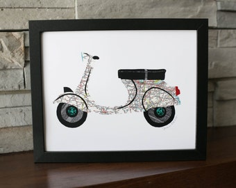 Vespa Scooter Print