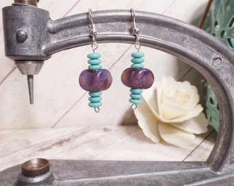 Vintage Upcycled Beads - Beaded Dangle Earrings - Turquoise, Purple, Silver