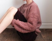 Tea rose fringe-knit boxy wool sweater (custom handmade, lead-time is 1 calendar month,other colours available)