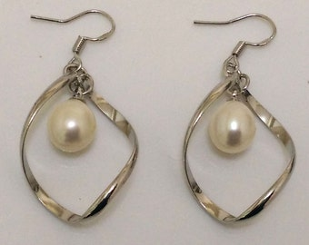 9-10mm Drop Pearl Sterling Silver Dangle Earring,Sold by Pair