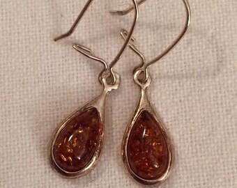 Amber Teardrop Cabochon Sterling Silver Earrings
