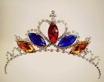 Snow White Crown, Snow White Tiara,Princess Snow White Headband Tiara ,Red blue yellow Tiara, Snow White Rhinestone Tiara, Descendants Tiara