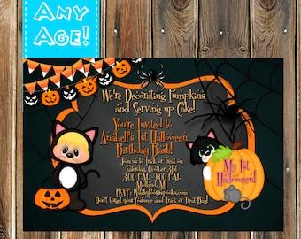 Cute Black Cat-Pumpkin Halloween Invitation-Black Cat Halloween Invite-Cat Halloween invitation-Babies first Halloween