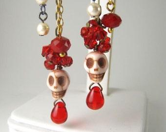 Halloween Earrings, Glam Goth Skull Earrings