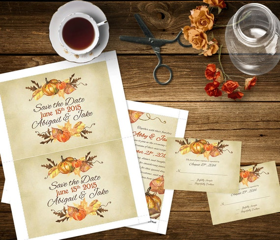 Pumpkin fall wedding invitation template invitation suite for Fall wedding invitations with pumpkins