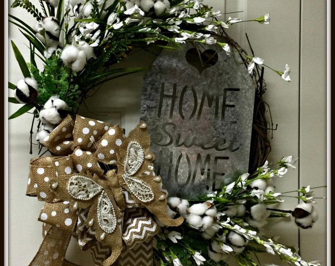 Summer, All Year, Farmhouse, Grapevine Wreath with Cotton Boll and Home Sweet Home Galvanized sign