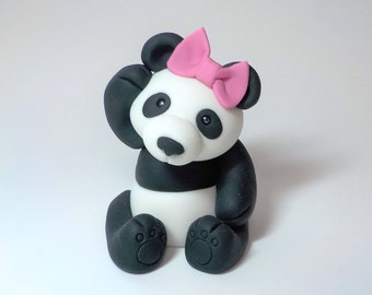 Panda Bear Fondant Cake Topper 1st Birthday Baby Shower Optional Pink Bow Jungle Animal