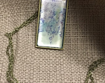 Purple Abstract Original Art Pendant Necklace