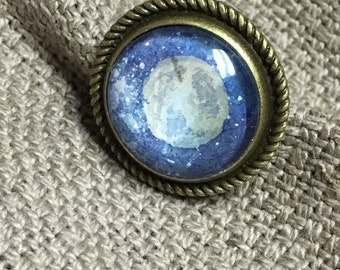 Space Jewelry| Galaxy Earth's Moon | Hand Painted Illustration Watercolor Jewelry | Brass Ring |