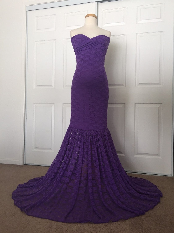 Maternity Mermaid Wedding Dresses : Purple lace maternity gown mermaid slim fit