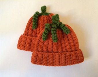 Little Pumpkin: baby or child pumpkin hat with stem and optional vine