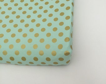 Changing Pad Cover ~ Mint with Gold Polka Dots, Michael Miller Glitz Mist