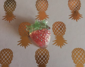 Tiny Strawberry Semi-Transparent Kawaii Pin