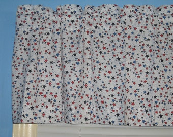 Blue Red Stars on White Patriotic Handmade 100% Cotton Window Topper Curtain Valance