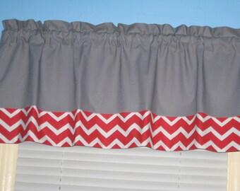 Handmade  100% Gray with Red White Chevron Trim Window Topper Valance
