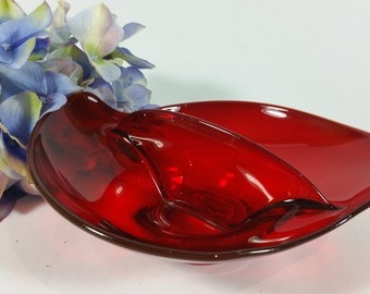1950's Vintage Ruby Red Viking Divided Relish Nut Bowl