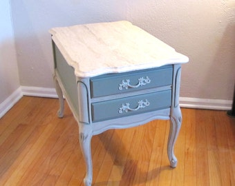 Vintage French Provincial Granite Top Side Table