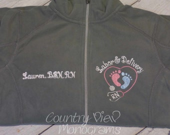 Labor and Delivery Nurse Fleece Jacket with FootPrints Stethoscope -RN LPN zipup light weight fleece jacket-CURTSY