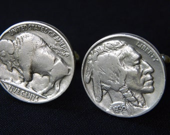Vintage Circulated authentic Buffalo Indian Nickel coin handmade cuff links with gift box.Nice gift for  fan of the BUFFALO BILLS