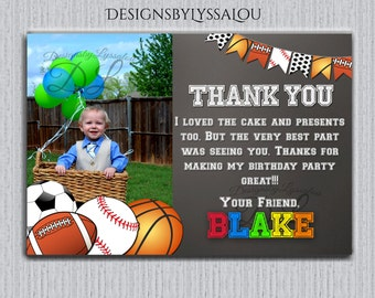 Sports birthday Thank You, Football Invite, Soccer Invite, boy first birthday, Ball birthday bash, All Star Invitation,Thank You Card