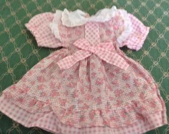 Vintage Pink Rose Bud Doll Dress