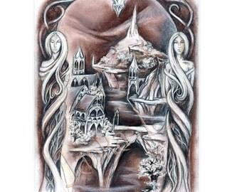 Original illustration, framed illustration - Elven city, elven drawing, original art